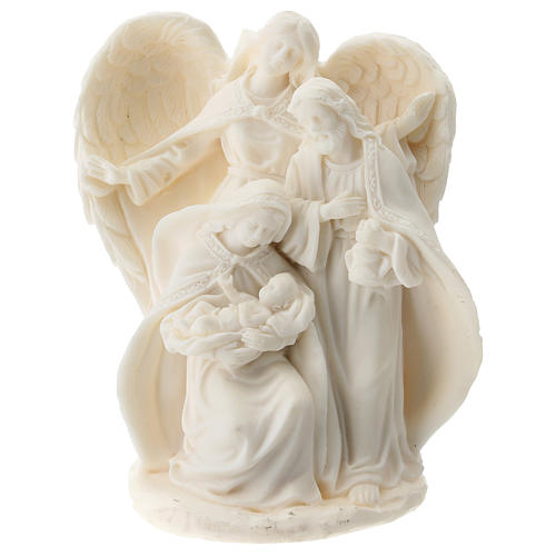 Nativity in white resin with angel 15 cm 1