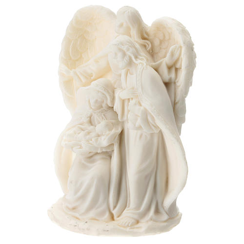 Nativity in white resin with angel 15 cm 2