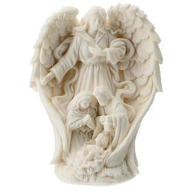 Natividad con Ángel resina blanca 10 cm s1