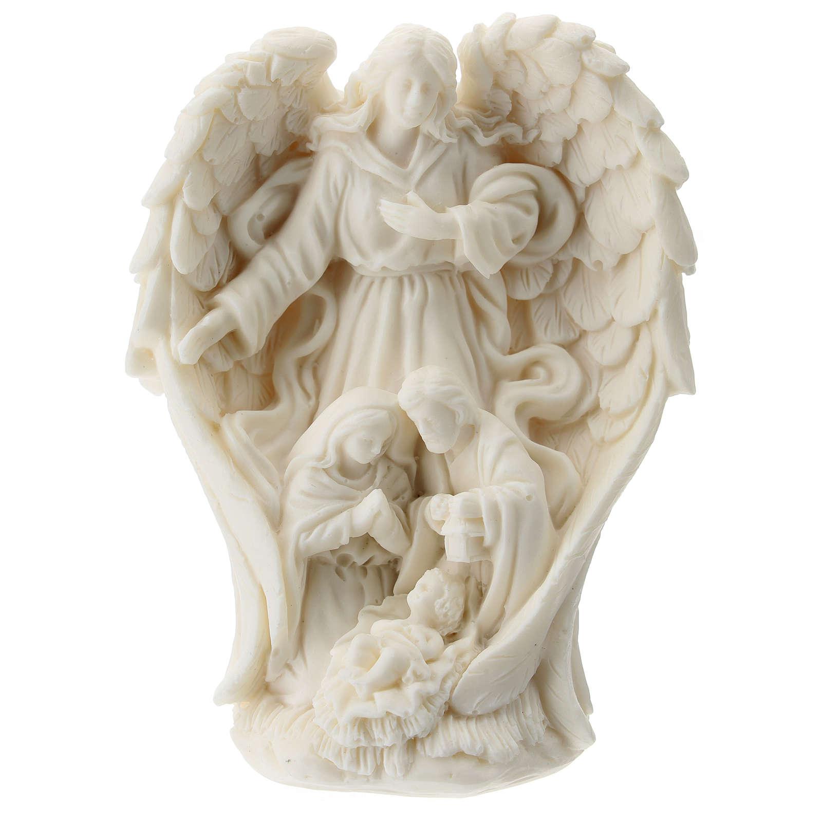 Natività con Angelo resina bianca 10 cm 3
