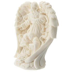 Natività con Angelo resina bianca 10 cm s2