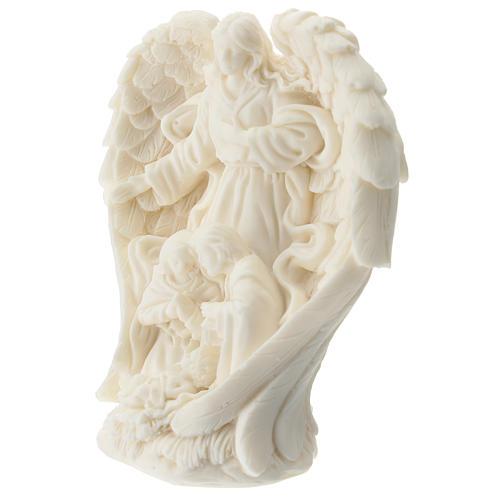 Natività con Angelo resina bianca 10 cm 2