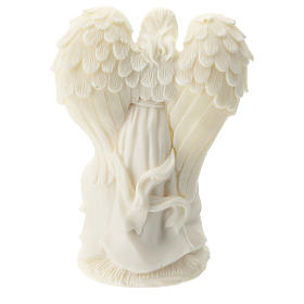 Nativity and Angel in white resin 10 cm s3