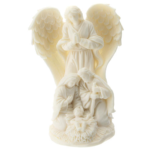 Nativity and Angel in white resin 10 cm 1
