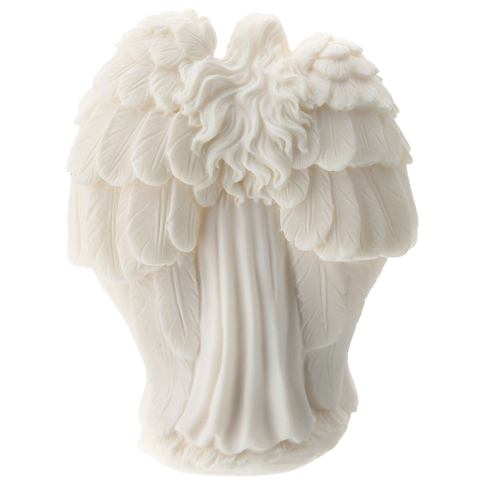 Holy Family with angel in white resin 10 cm 3