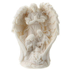 Holy Family with angel in white resin 10 cm s1