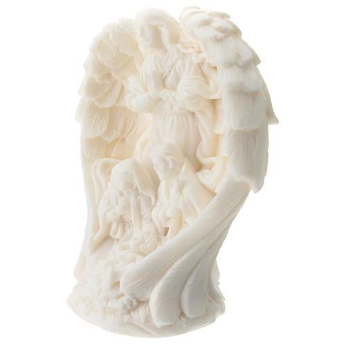 Sagrada Familia con Ángel resina blanca 10 cm 2