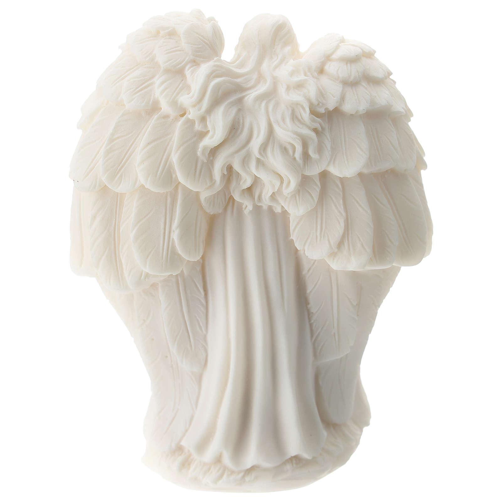 Sacra Famiglia con Angelo resina bianca 10 cm 3