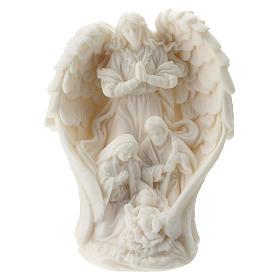 Sacra Famiglia con Angelo resina bianca 10 cm s1