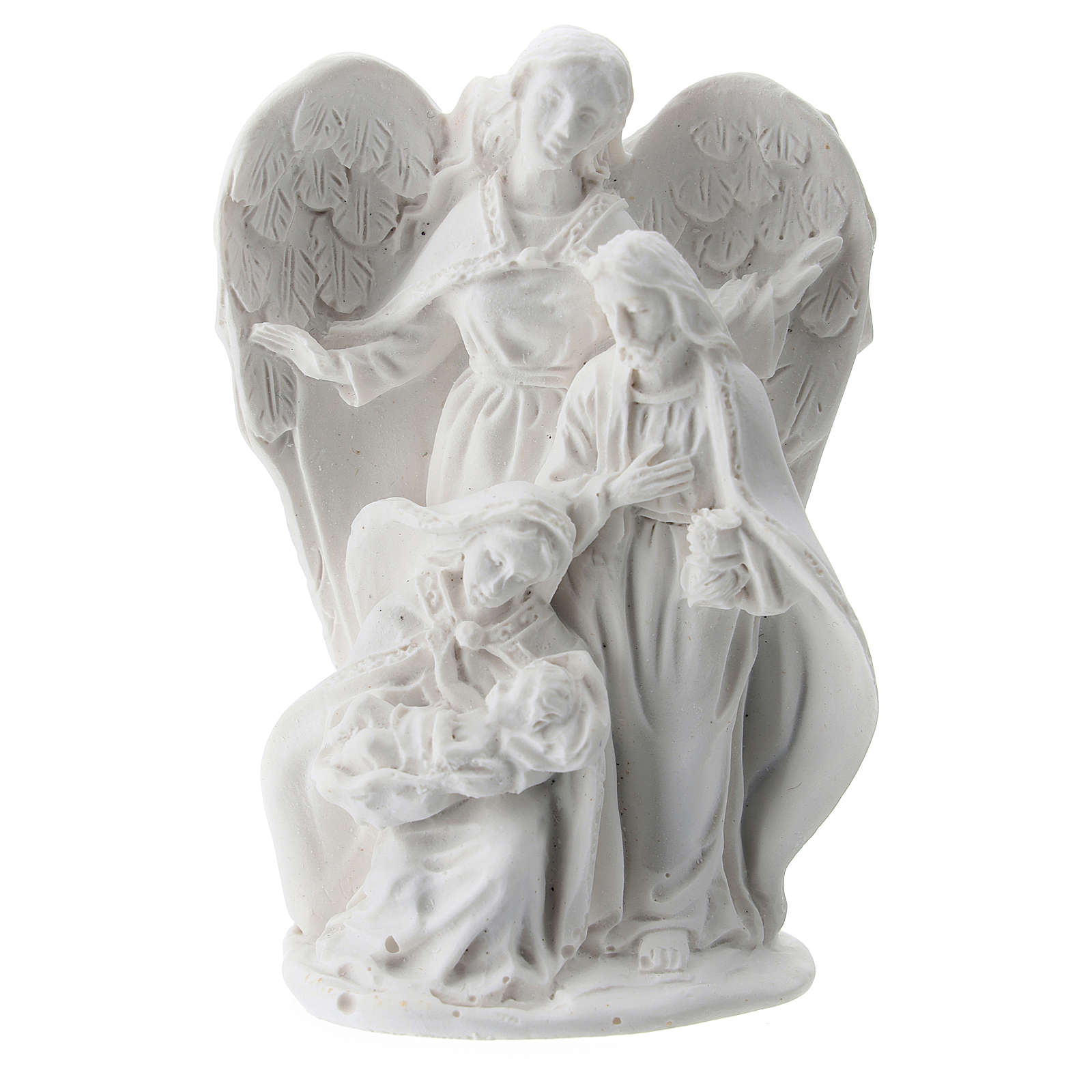 Holy Family in resin with angel 5 cm 3