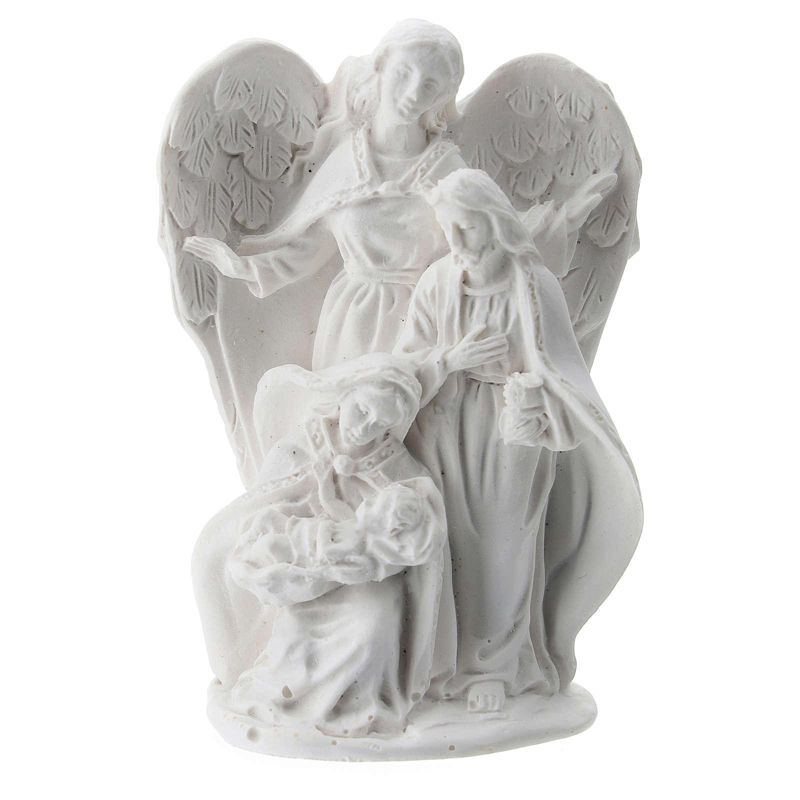 Sacra Famiglia resina con Angelo 5 cm 3