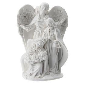 Sacra Famiglia resina con Angelo 5 cm s1