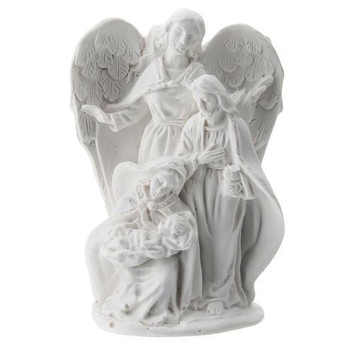 Sacra Famiglia resina con Angelo 5 cm 1