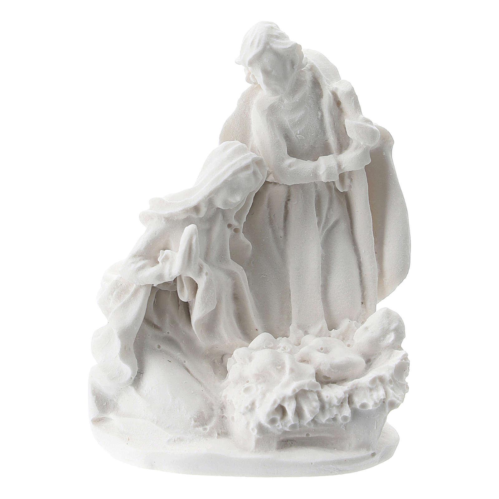 Sacra Famiglia resina bianca 5 cm 3