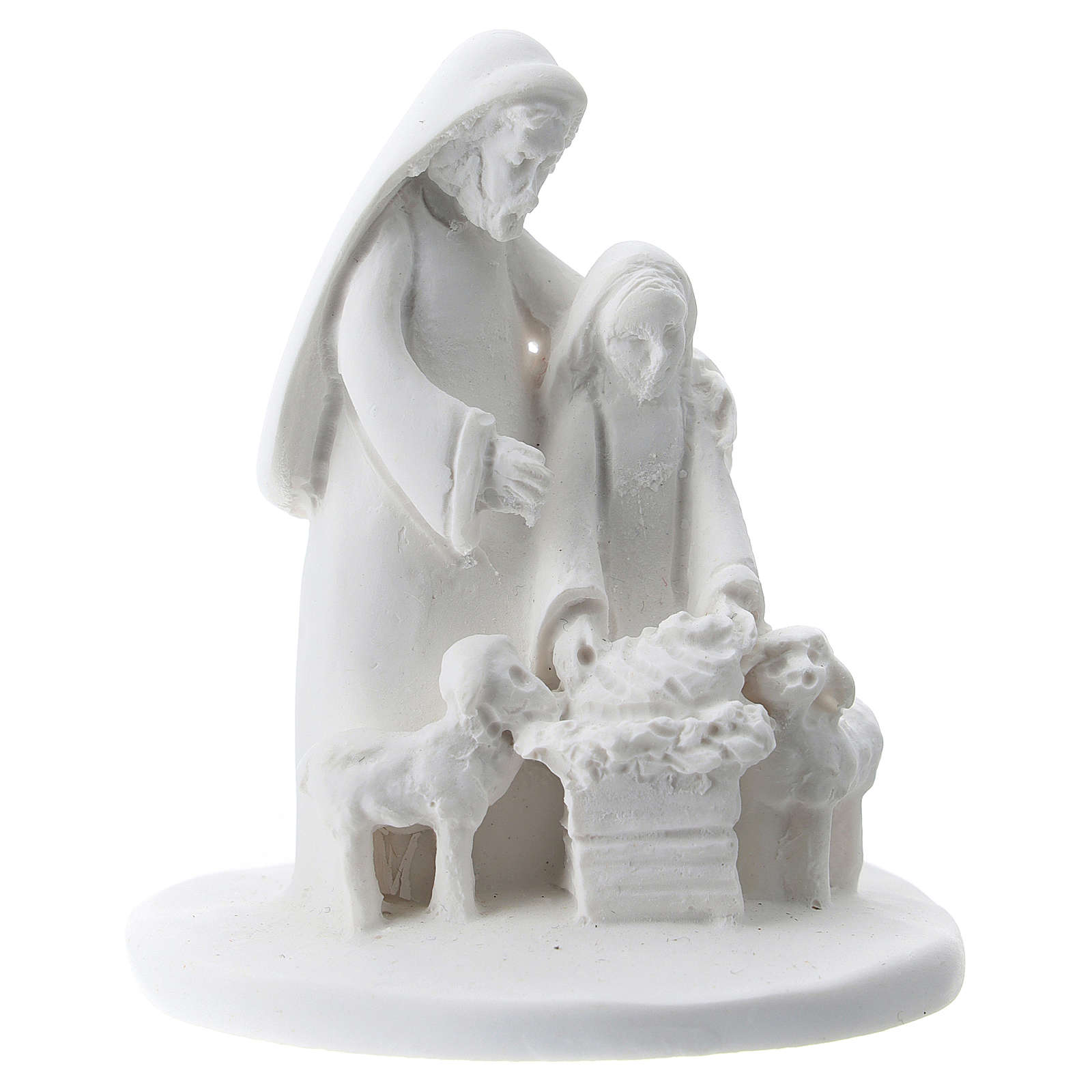 Statuette mother and son white resin 5 cm 3