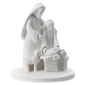 Statuette mother and son white resin 5 cm s1