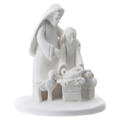 Statuette mother and son white resin 5 cm 1
