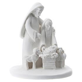 Estatua madre e hijo resina blanca 5 cm s1