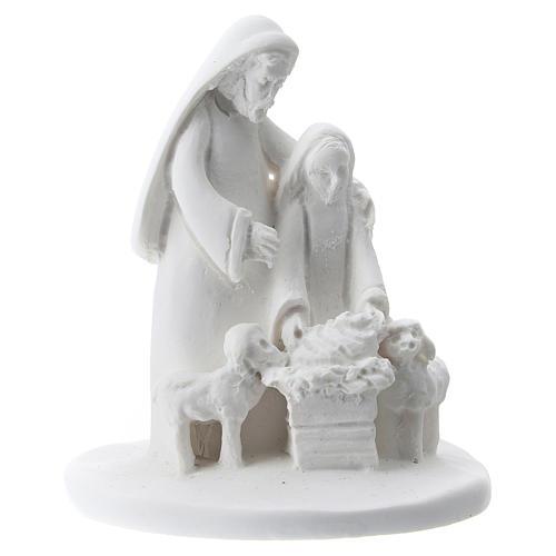 Estatua madre e hijo resina blanca 5 cm 1