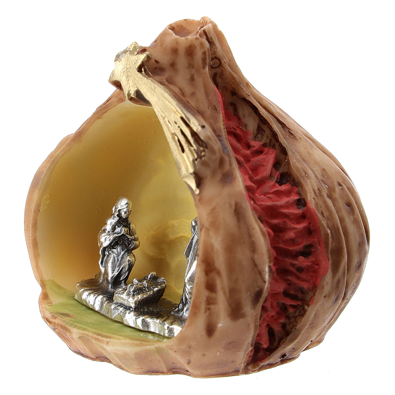 Resin fig with metal Nativity Scene 5 cm 3