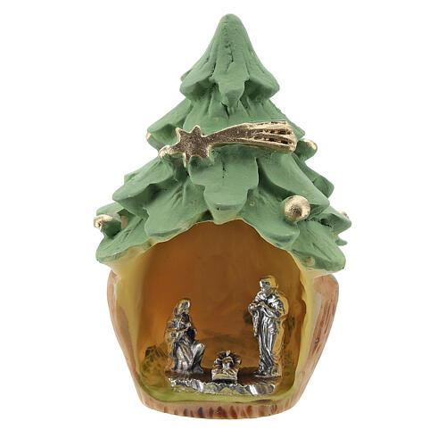 Árbol Navidad resina con Natividad metal 5 cm 1