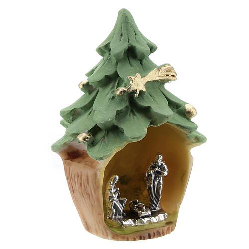 Árbol Navidad resina con Natividad metal 5 cm 3