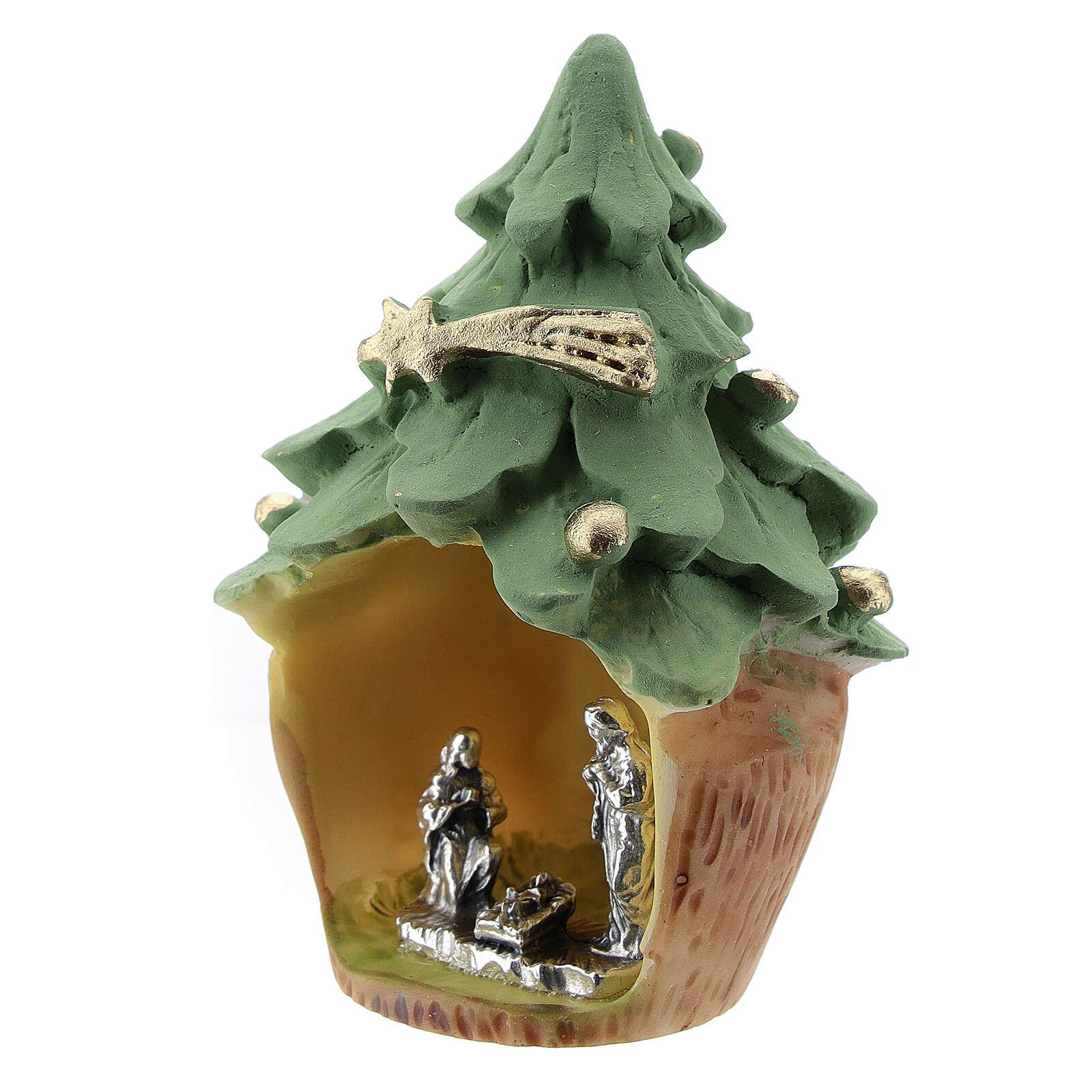 Albero Natale resina con Natività metallo 5 cm 3