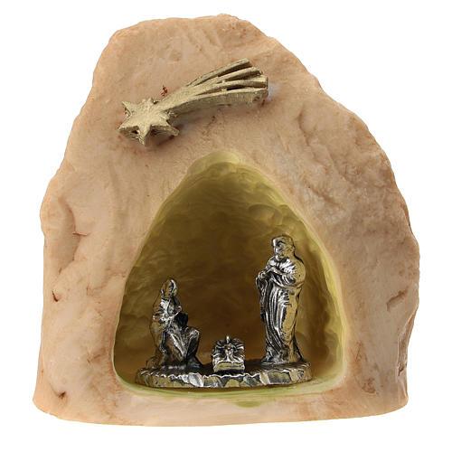 Roca con Natividad metal en nicho 5 cm 1