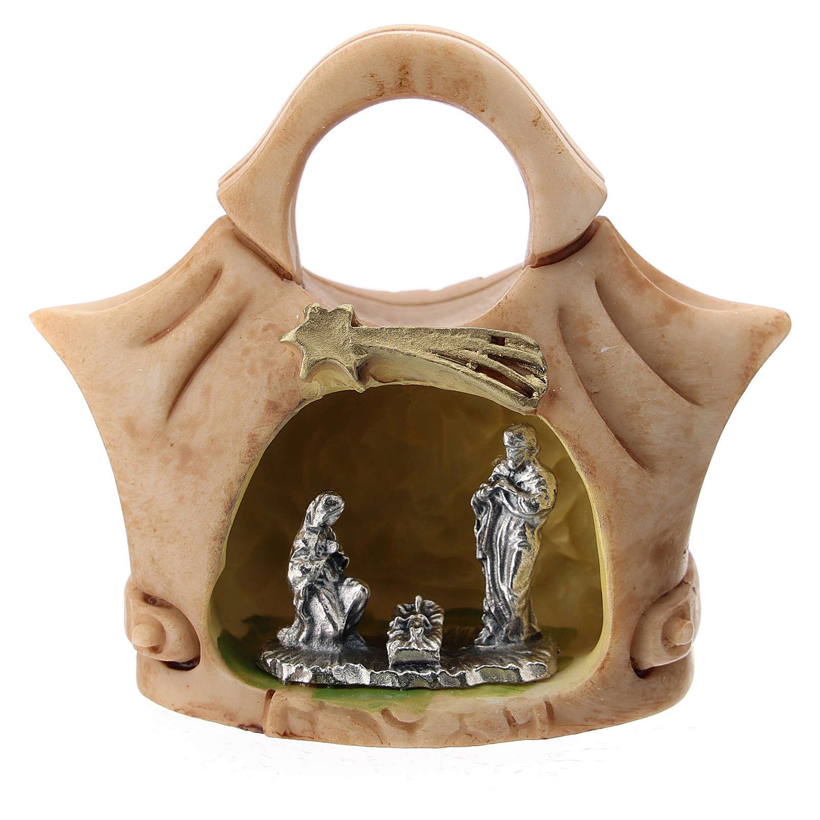 Borsetta resina con Sacra Famiglia metallo 5 cm 3