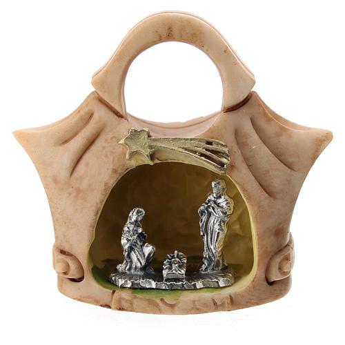 Borsetta resina con Sacra Famiglia metallo 5 cm 1