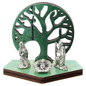 Metal Nativity with Tree of Life printed on wood 5 cm s1