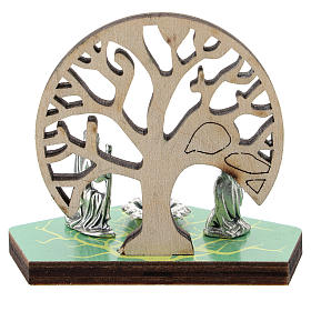Metal Nativity with Tree of Life printed on wood 5 cm s3