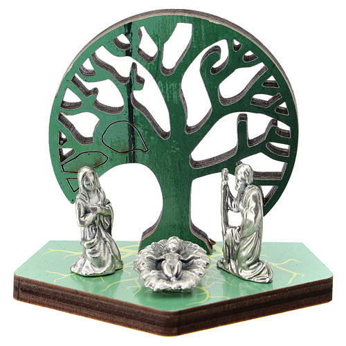 Metal Nativity with Tree of Life printed on wood 5 cm 1
