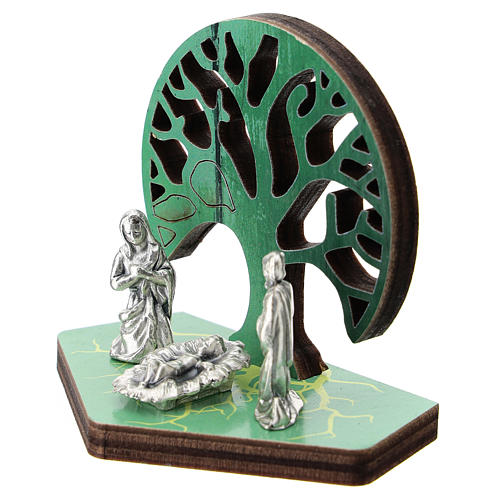 Metal Nativity with Tree of Life printed on wood 5 cm 2