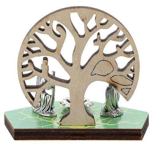 Metal Nativity with Tree of Life printed on wood 5 cm 3