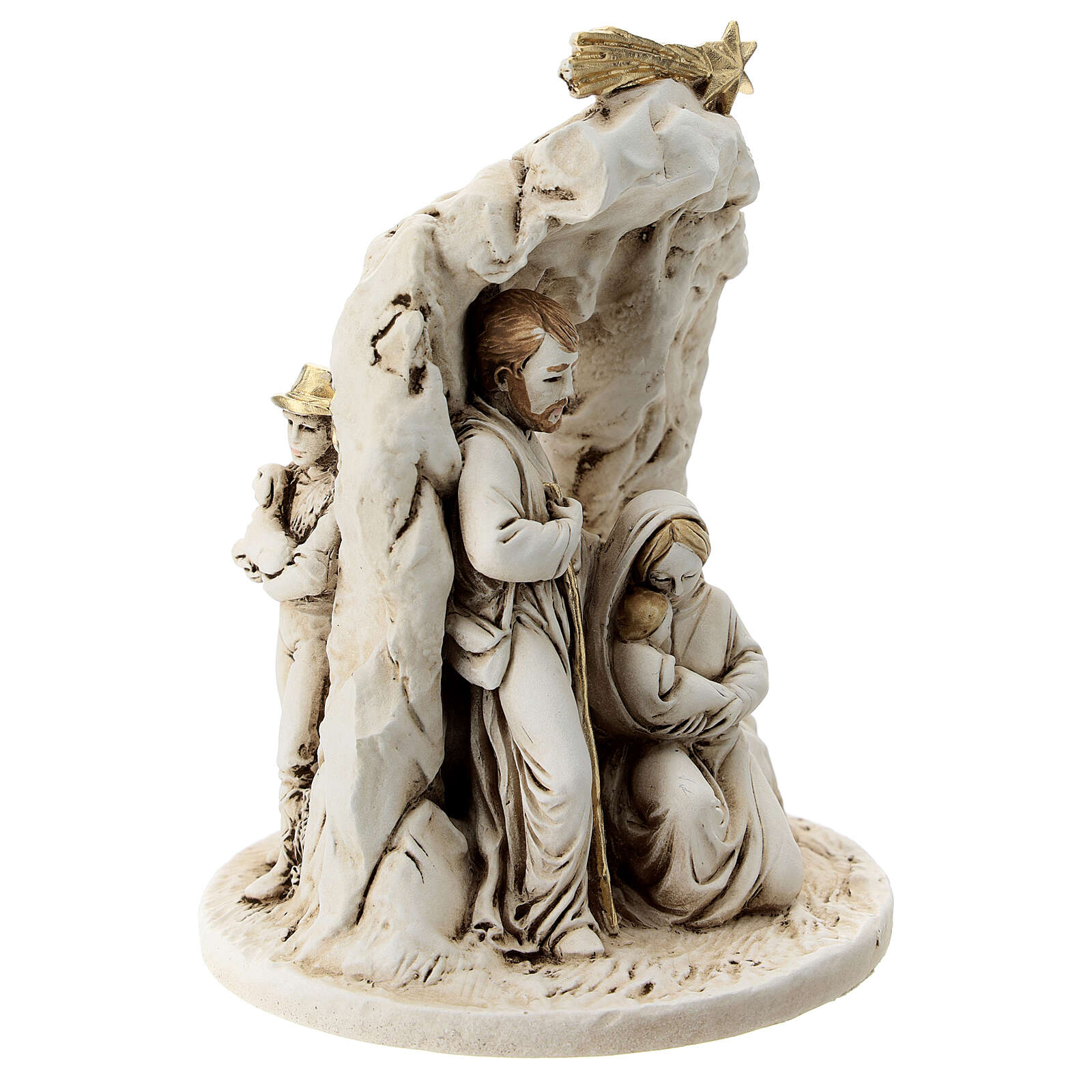 Nativity in resin with cave 10 cm 3