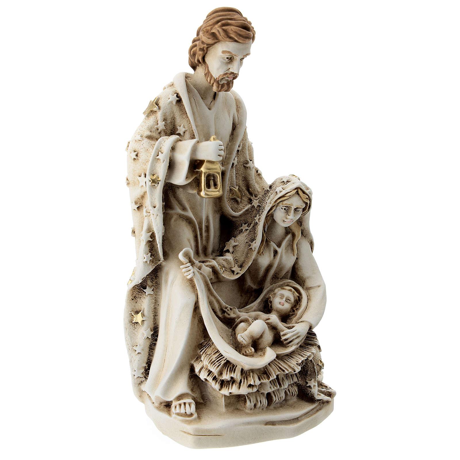 Sacra Famiglia resina con stelle 20 cm 3