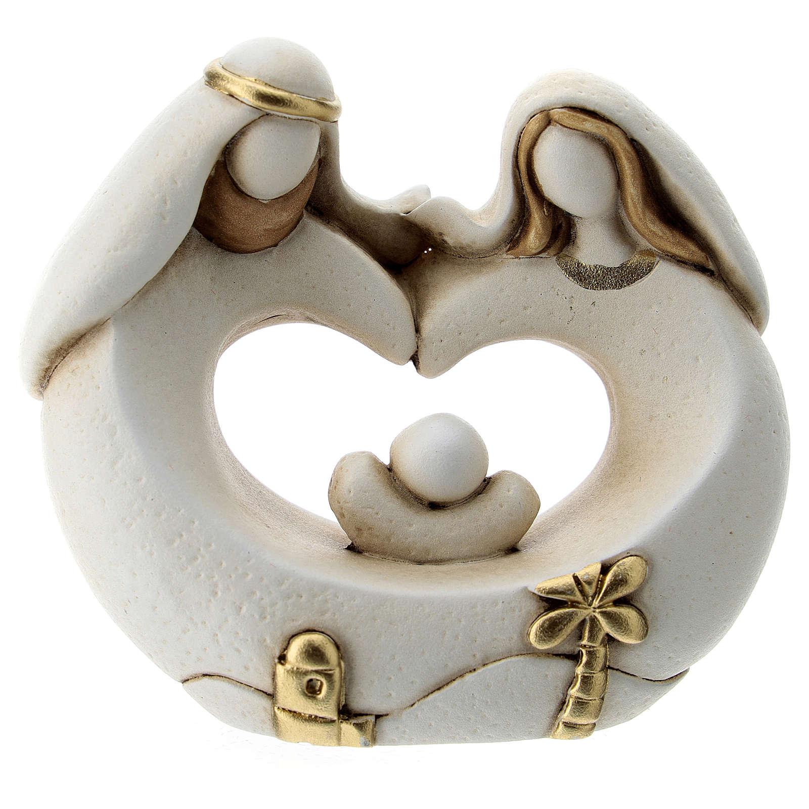 Sacra Famiglia stile arabo cuore resina 5 cm 3