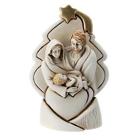 Albero con Sacra Famiglia resina 10 cm s1