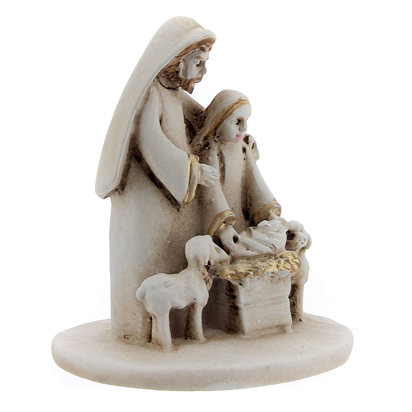 Natividad con ovejas estilo árabe resina 5 cm 3
