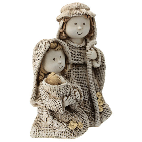 Holy Family for children's line with jute effect clothes 15 cm 3