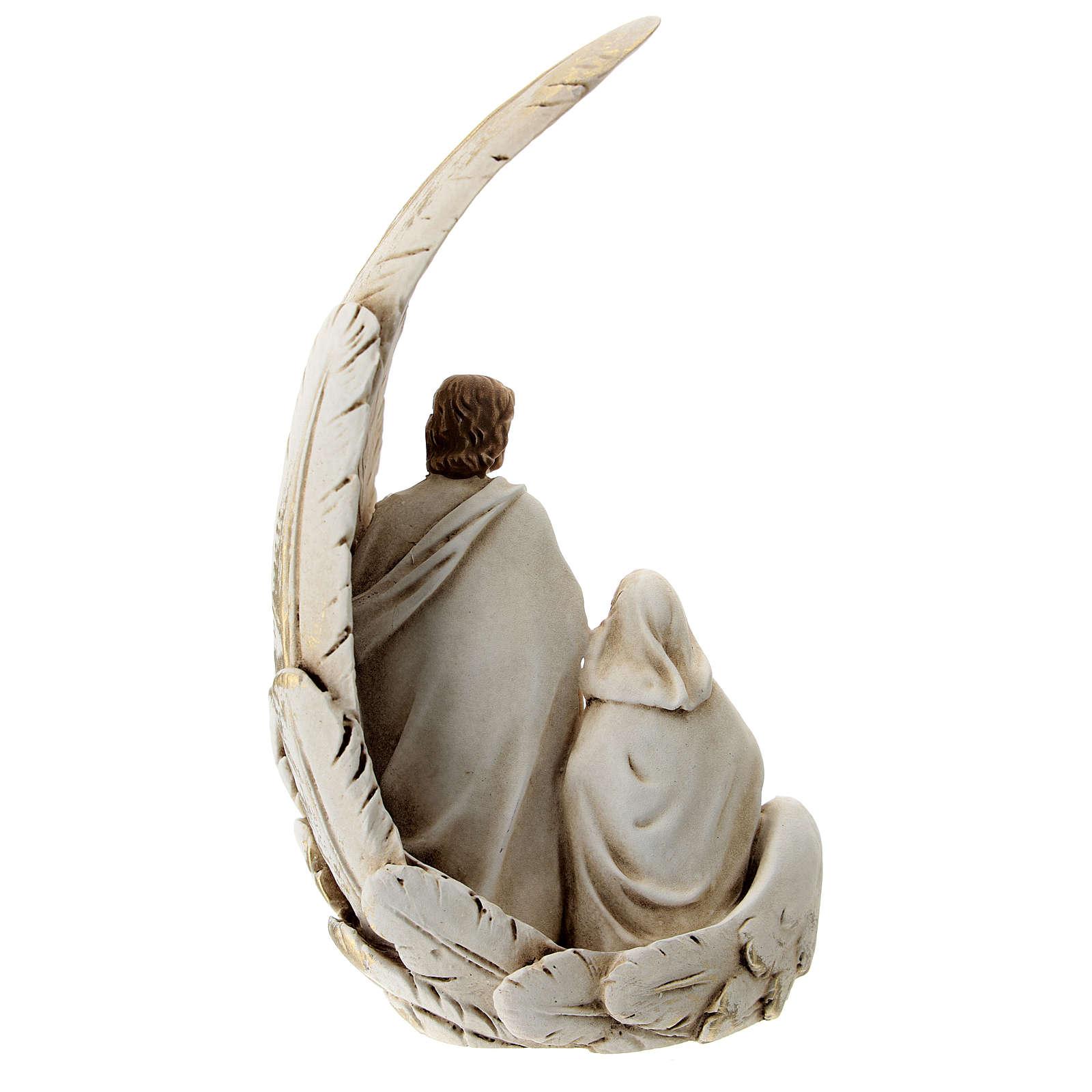 Natividad con ala matices dorados resina 15 cm 3