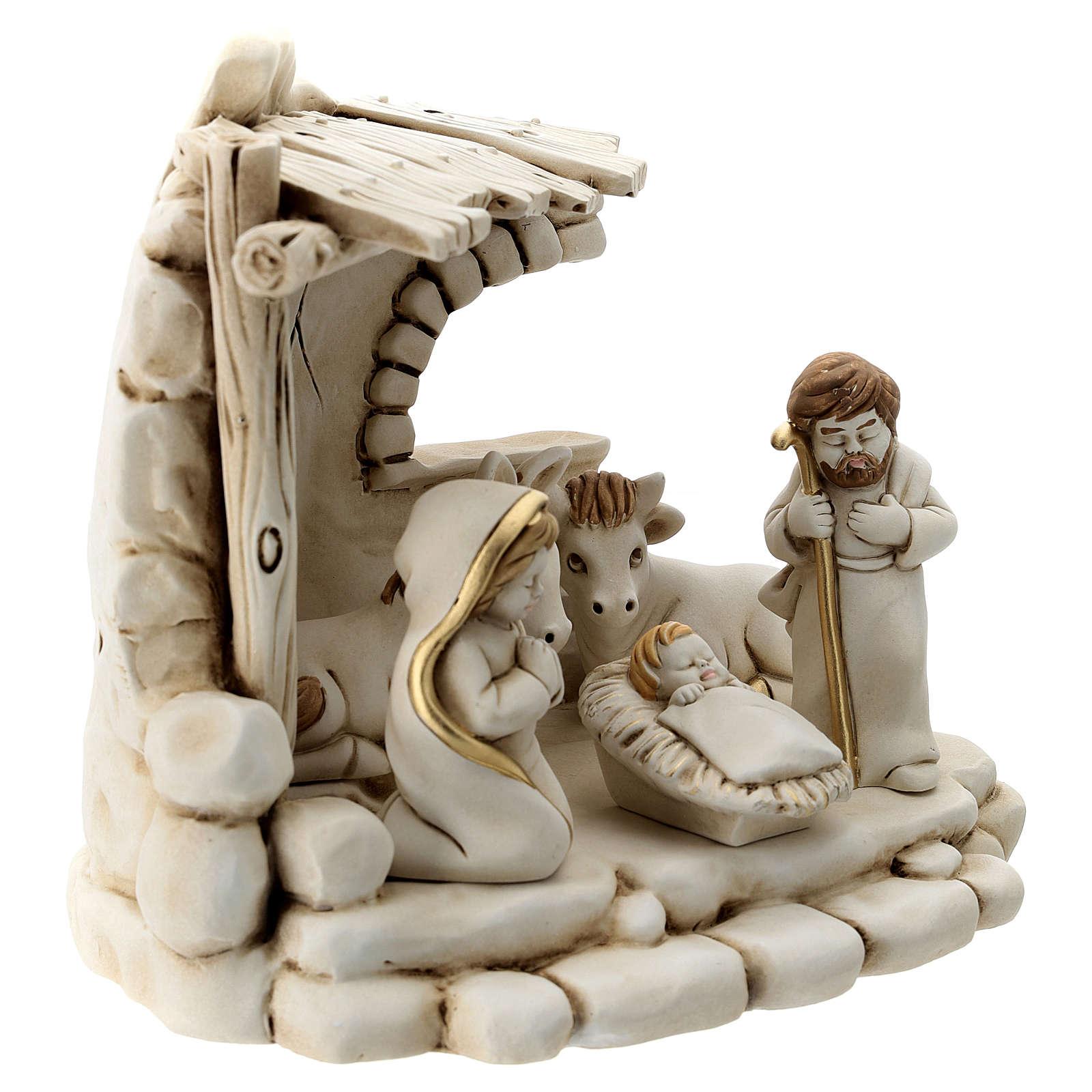 Natividad 5 personajes con cabaña resina 20 cm 3