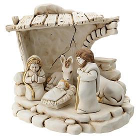 Nativité 5 personnages avec cabane résine 20 cm s3