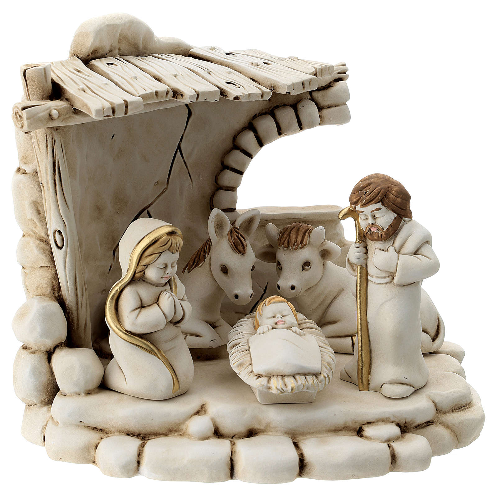 Nativity scene 5 characters with stable, in resin 20 cm 3
