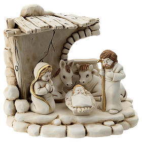 Nativity scene 5 characters with stable, in resin 20 cm s1