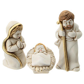 Nativity scene 5 characters with stable, in resin 20 cm s2