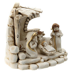 Nativity scene 5 characters with stable, in resin 20 cm s5