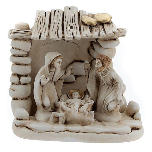 Nativity with shack in resin 10 cm 1