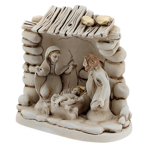 Composición Natividad cabaña resina 10 cm 2